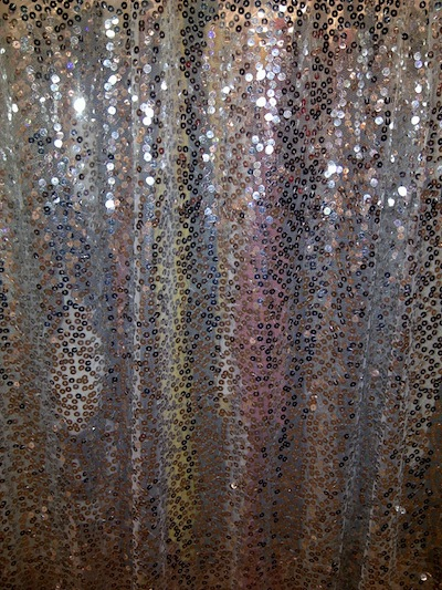 silver sequined draping