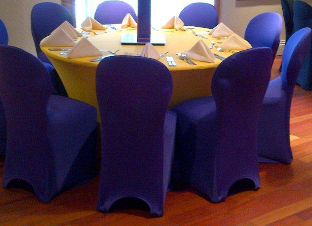 blue contour chair covers with yellow spandex table covers