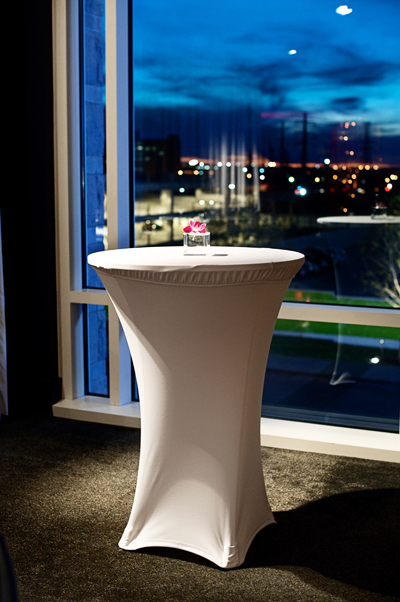 single white spandex covered cocktail table