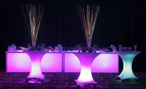 cocktail tables with LED lighting
