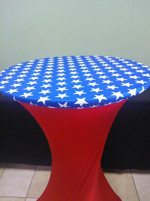 Stars Spandex topper, fitted table covers