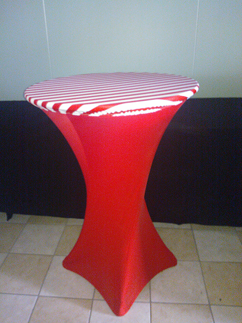 Stripe Spandex topper, fitted table covers