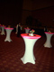 highboy cocktail tables with white spandex and pink table toppers