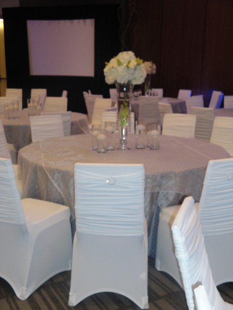 diamond sashes on white ruched chair covers for weddings